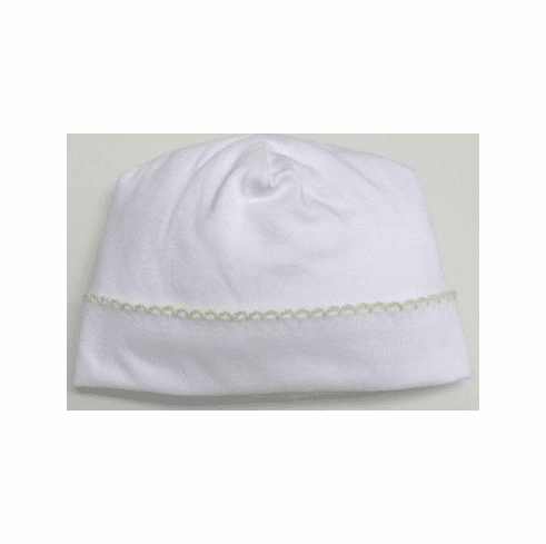 Kissy Kissy girls infant clothes Signature Collection softest white cotton hat with  yellow trim.