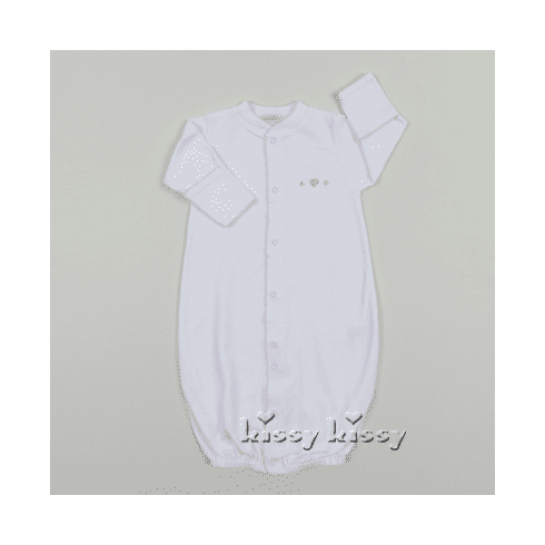 Kissy Kissy Homeward Bound girls infant clothes knit girls white long sleeve convertible gown with pink trim and embroidered heart.