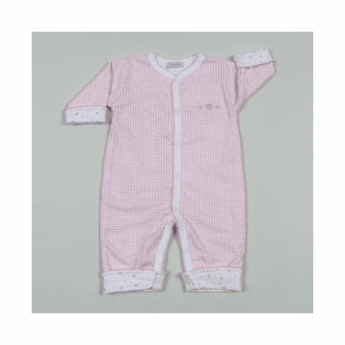 Kissy Kissy Homeward Gingham girls infant clothes reversible one piece with check on one side and heart print on other side.