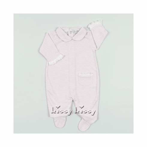 Kissy Kissy Simple Stripes Footie with Collar. Pink Stripes.