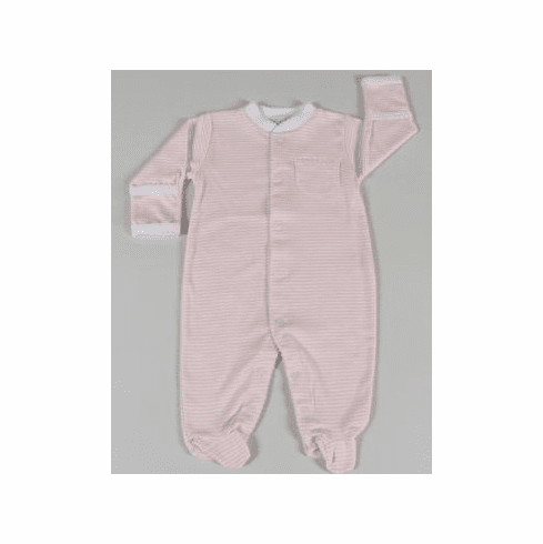 Kissy Kissy Simple Stripes softest cotton footie with pink/white horizontal stripes. Snaps from neck to foot to make it easy to put on baby.