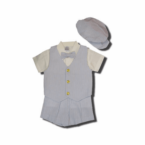 Lito Jakin blue and white seersucker vest/short outfit with shirt and hat and bow tie. Great buy and so cute.
