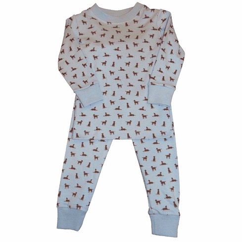 Luigi Blue Pajamas with Chocolate Lab Print on Two Piece Pajamas. Peruvian pima cotton.