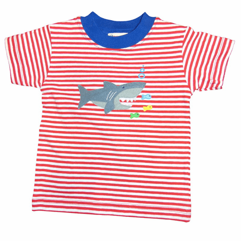 Luigi Boys Clothes Hungry Shark on Red Stripe Shirt. Peruvian Pima Cotton.