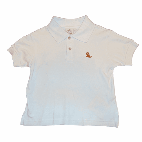 Luigi Boys Clothes White Collared Shirt with a Dog Embroidered. Peruvian Pima Cotton.