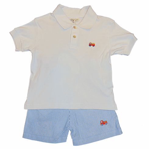 Luigi Boys Clothes White Collared Shirt with a Firetruck Embroidered and Blue Pinstripe Shorts with Firetruck. Peruvian Pima Cotton.