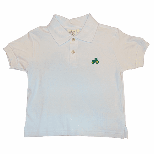Luigi Boys Clothes White Collared Shirt with a Tractor Embroidered. Peruvian Pima Cotton.