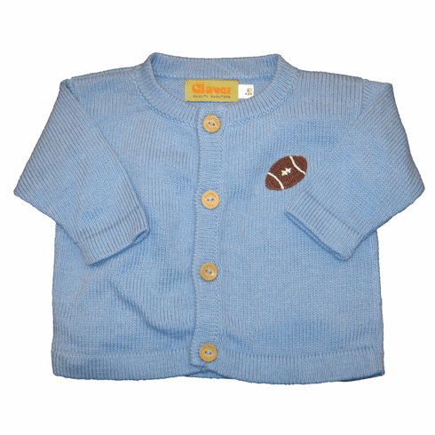 Luigi Football Crewneck Cardigan in Chambrey Blue with a Football applied. Wooden Buttons. Peruvian soft cotton.