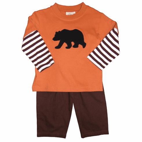 Luigi Knit Shirt with Black Bear Applique and Matching Chocolate Brushed Cotton Pants. Peruvian pima cotton.