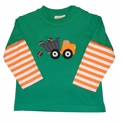 Luigi Knit Shirt with Dumptruck with Balls Applique. Peruvian pima cotton.
