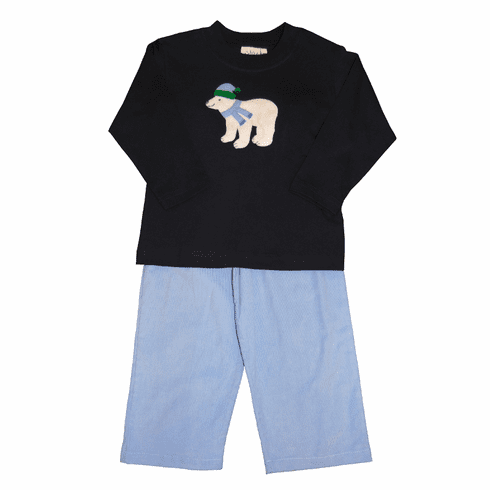 Luigi Knit Shirt with Polar Bear with Scarf Applique and Matching Blue Corduroy Pants. Peruvian pima cotton.