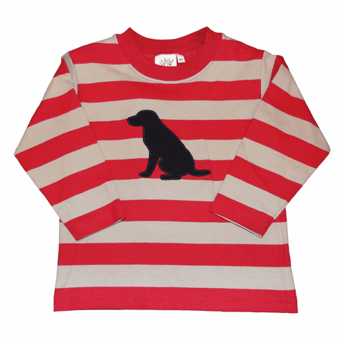 Luigi Stripe Knit Shirt with Labrador Dog Applique. Peruvian pima cotton.
