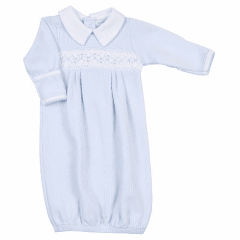 Magnolia Baby Luke Blue Smocked Gown. Peruvian Pima Cotton.