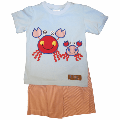 Millie Jay Crabby Applique Boys Knit Shirt and Shorts Set