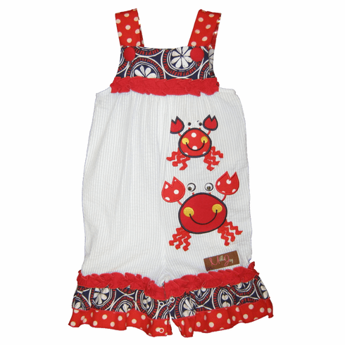 Millie Jay Crabby Applique Jay Romper