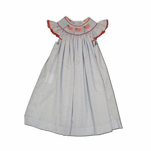 Mom n Me American Independence blue angel wing bishop dress with three flags in the smocking. Super cute and patriotic. Matches the boys.