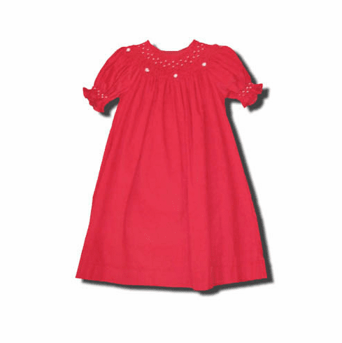 Mom n Me Caroline red pearl bishop dress that is classic and beautiful.