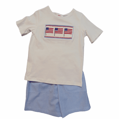 Mom n Me Proud to Be An American Short Set with Flag Smocking.