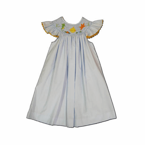 Mom n Me Sea Angel bishop dress with sea creatures smocked on the front. Super cute and matches the boys.