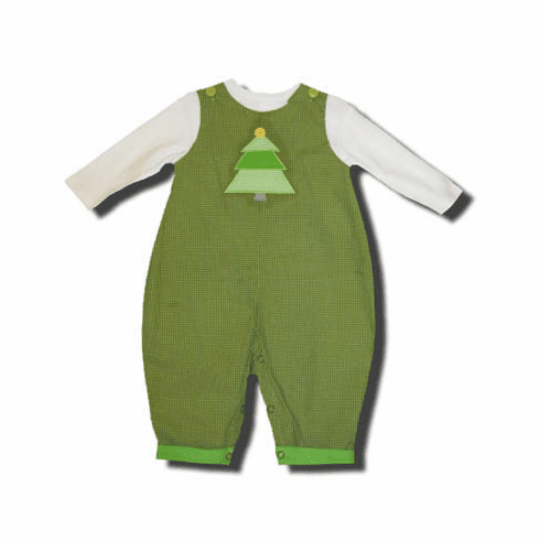 Petit Ami toddler boys clothes Tree Lighting green pant set with a Christmas Tree on the front of a white shirt. Super cute and matches the girls. NOT A LONGALL.