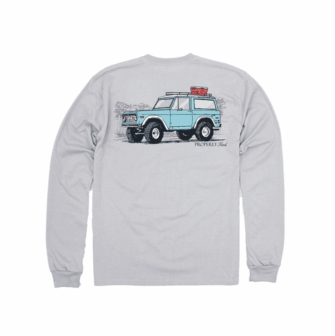 Properly Tied 4X4 Grey Long Sleeve Pocket Tee. Peruvian Pima Cotton. This is the back of the shirt.