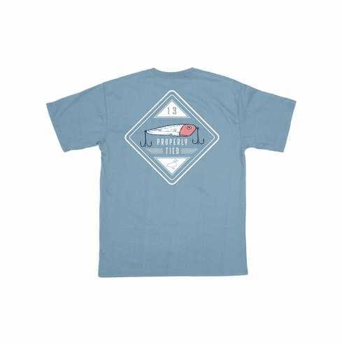 Properly Tied Crankbait Front Pocket Short Sleeve Shirt. This is screenprint on back. Peruvian Cotton.