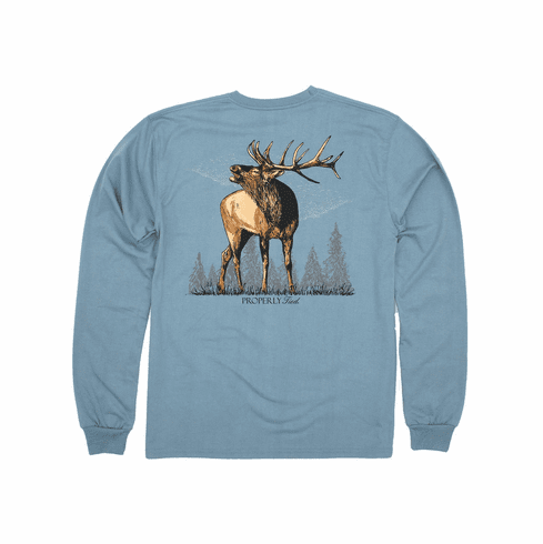 Properly Tied Elk Blue Long Sleeve Pocket Tee. Peruvian Pima Cotton. This is the back of the shirt.