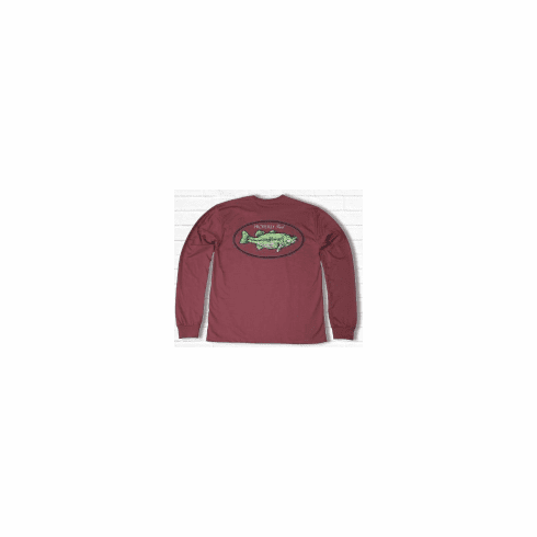 Properly Tied Lil Ducklings Bass Long Sleeve Cayenne. Peruvian Pima Cotton.
