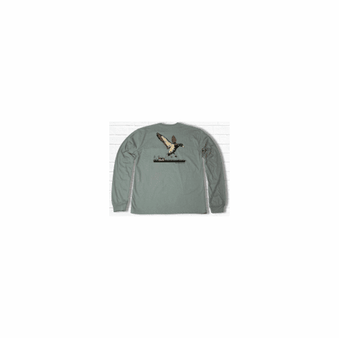 Properly Tied Lil Ducklings Duck Hunt Long Sleeve Sage. Peruvian Pima Cotton.