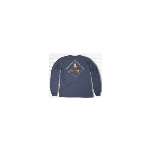 Properly Tied Lil Ducklings Flying Phesant Long Sleeve Stone Blue. Peruvian Pima Cotton.