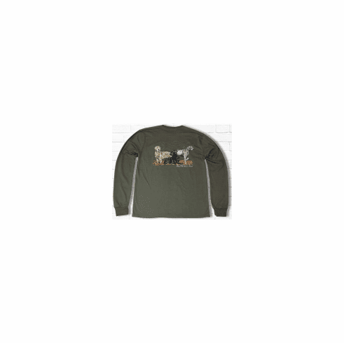 Properly Tied Lil Ducklings Hunting Dogs Long Sleeve Olive. Peruvian Pima Cotton.