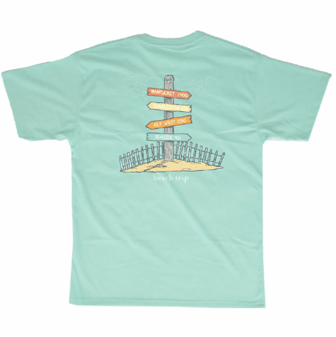 Properly Tied Seafoam Beach Tripping Front Pocket Short Sleeve Shirt. This is screenprint on back. Peruvian Cotton.