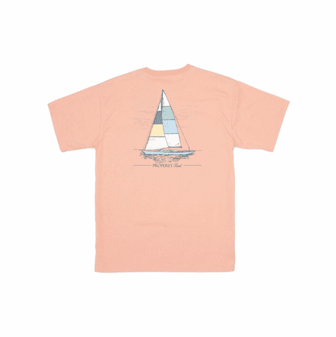 Properly Tied Set Sail Front Pocket Short Sleeve Shirt. This is screenprint on back. Peruvian Cotton.