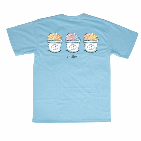Properly Tied Teal Snow Cones Front Pocket Short Sleeve Shirt. This is screenprint on back. Peruvian Cotton.