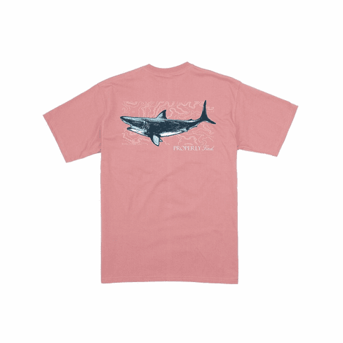 Properly Tied Topo Shark Front Pocket Short Sleeve Shirt. This is screenprint on back. Peruvian Cotton.