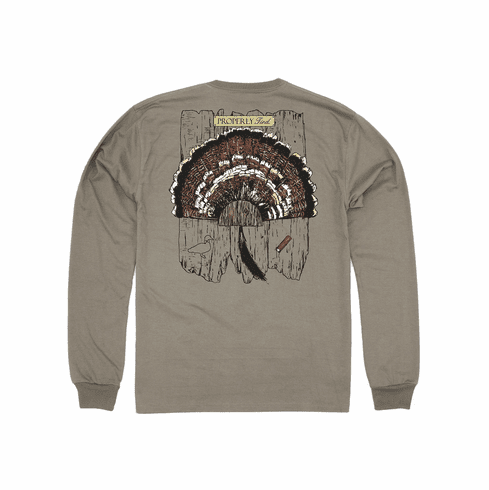 Properly Tied Turkey Mount Tan Long Sleeve Pocket Tee. Peruvian Pima Cotton. This is the back of the shirt.