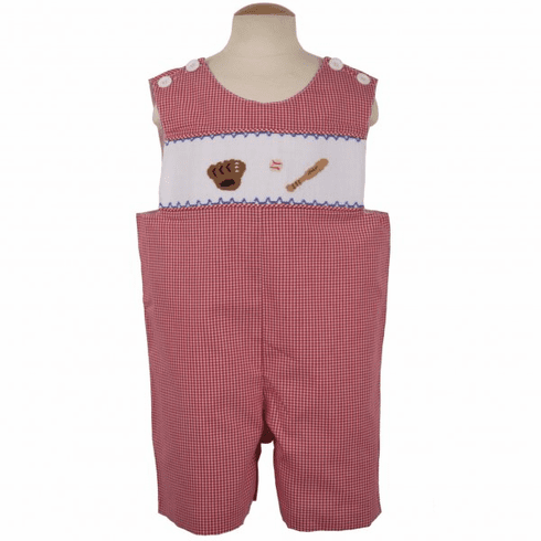 Remember Nguyen Baseball red checked shortall with smocking across the bodice.  Handsome and classic.