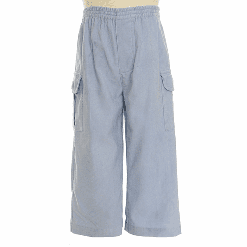 Remember Nguyen Blue micro gingham cargo pant. On the side of leg are deep rectangular pockets with flap closures. Elastic waist.