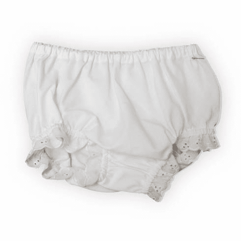 Remember Nguyen Zoey white diaper cover with some eyelet lace.