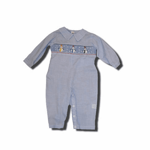 Royal Child boys clothes Falling Snow blue one piece with three snowmen in the smocking. Sweet and matches the girls.