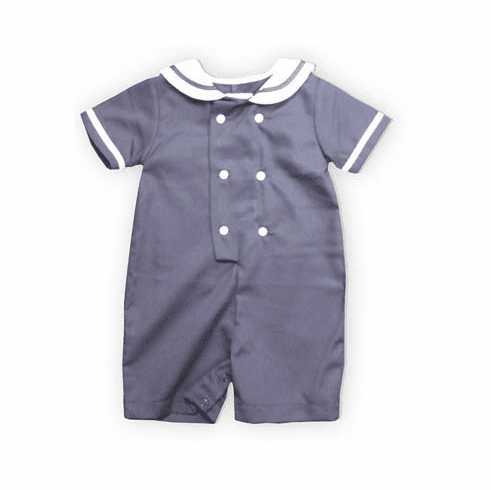 Royal Child Forever Sail blue romper with a sailor collar and buttons down the front. Matches the girls.