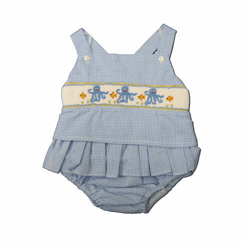 Royal Child Happy Octopus blue checked seersucker two piece swimsuit with 3 smocked octopuses on the front and matches the boys. Super cute.