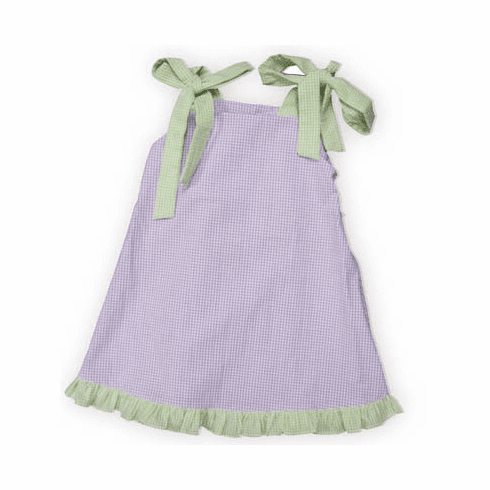 Royal Child Hayley purple and white checked seersucker dress with green and white checked straps that tie at the shoulders. Super fun for the warm weather.