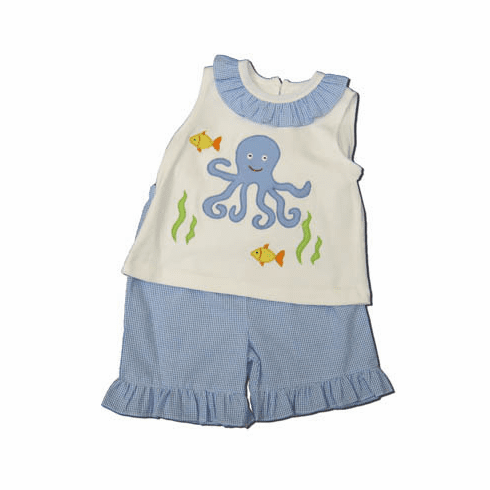 Royal Child Ocean Life girls short set with an octopus on the front. Very cute and matches the boys.