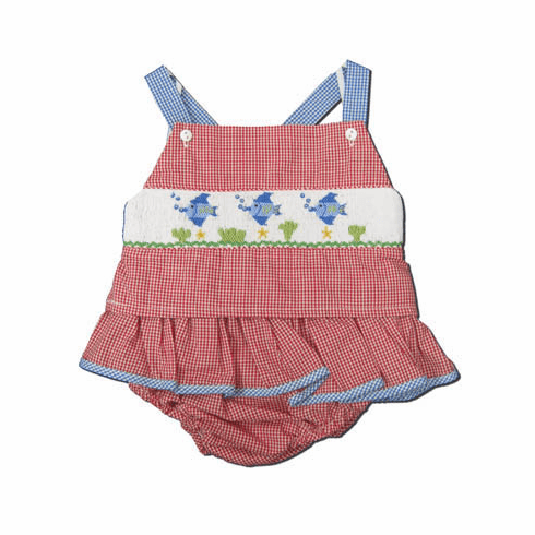 Royal Child Something Smells Fishy red checked seersucker two piece swimtsuit with a smocked fish. Very cute and matches the boys.
