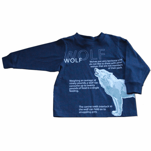 Spudz Wolf Navy Shirt with a wold motif on it. Very soft and comfy.
