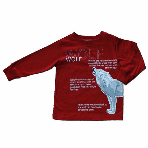 Spudz Wolf Red Shirt with a wold motif on it. Very soft and comfy.