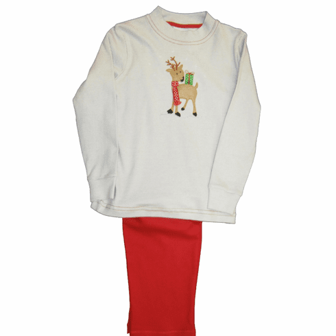 Squiggles Giving Reindeer Shirt and Pants. Peruvian Pima Cotton