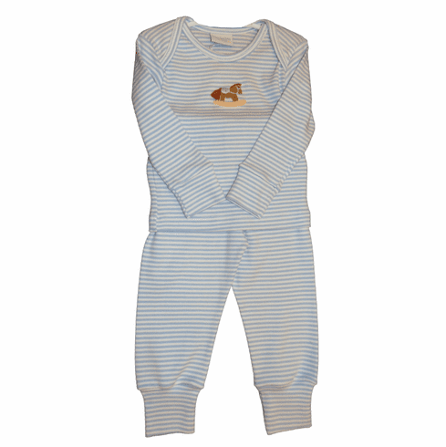 Squiggles Rocking Horse Pant Set in a Blue and White Stripe. Peruvian Pima Cotton. Softest Cotton in the World.