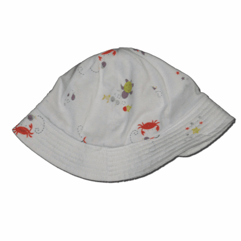 U.S. Maid very soft reversible bucket hat with sea creature print and terrycloth.